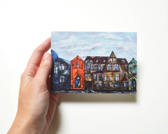 Art postcard Mini print Oil print Original gift for men Original oil painting print Travel postcards City postcard Fine art postcard