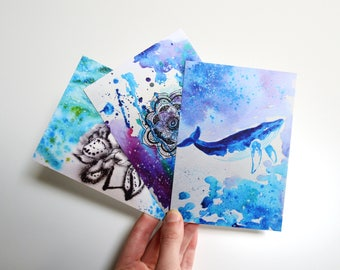 Blue art card greeting card set 4x6 prints holiday greeting card set set of 3 card cute card set original watercolor cards modern postcard