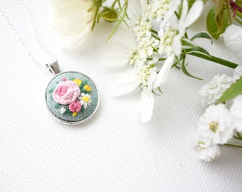 Hand Embroidered Floral Pendant, Mini Pendant, Pink Roses and Daisies, Sage Green, Hand Embroidered Pendant