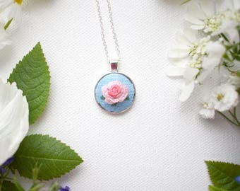 Hand Embroidered Pink Rose Pendant, Mini Pendant, Rose Necklace, Pink Rose Necklace