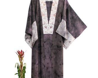 Long silk kimono robe duster: Purple, gray, black, steel two toned floral painted dyed