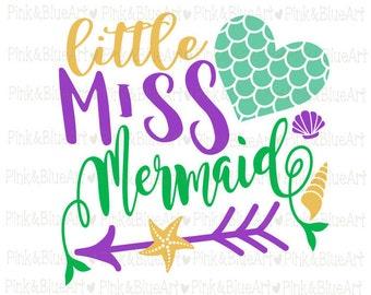 Mermaid svg - Little miss svg - Mermaid tail - Heart svg - Little girl svg - Summer svg - Mermaid shirt - Birthday svg - SVG DXF Png Pdf Eps