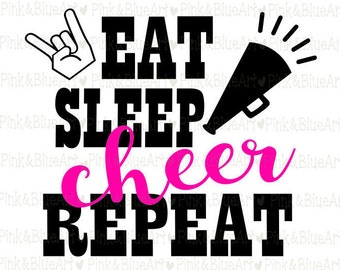 Eat Sleep Cheer Repeat SVG Clipart Cut Files Silhouette Cameo Svg for Cricut and Vinyl File cutting Digital cuts file DXF Png Pdf Eps