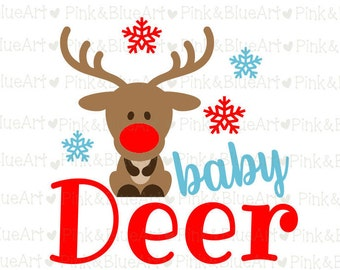 Baby Deer SVG Christmas SVG Clipart Cut Files Silhouette Cameo Svg for Cricut and Vinyl File cutting Digital cuts file DXF Png Pdf Eps