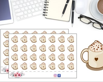 Coffee Sticker, Hot Coco Planner Stickers, Coffee Sticker