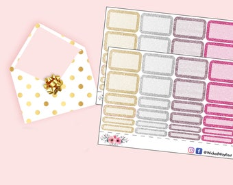 Glitter Half Box Planner Stickers, Quarter Box Stickers, Header Stickers ECLP - Happy Planner