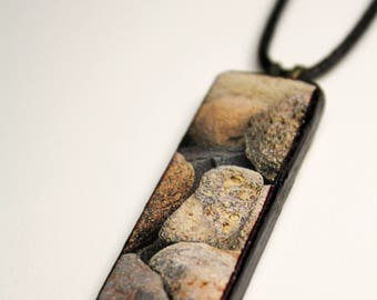 Beach Rocks #1 Wooden Pendant