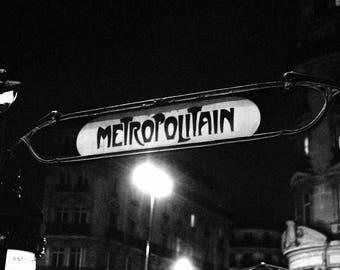 Metropolitain of paris, art deco metro sign 35mm fine art photo print