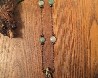 chrysocolla,aventurine,necklace,wood beads, chain, chakras