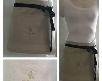 Half apron - Natural linen - Florist apron - Handmade Apron - Natural linen - Custom embroidery - Barista apron - Vendor apron
