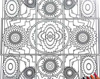 Kaleidoscope, Adult Coloring Page, Intricate Design, Geometric Repeating Patterns, Symmetrical design,Instant Download, Grownup coloring