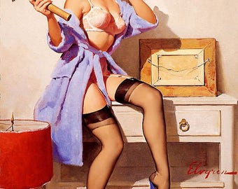 Gil Elvgren pinup crafter pinup poster printed on 140 GSM paper. High quality print with archival ink.