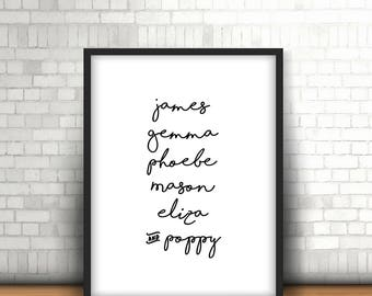 Monochrome / Family Names Name Print / Personalised / Home Print / A4, 8x10inch or A5, Quality Paper