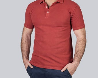 Red organic cotton Polo