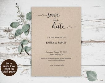 Printable Save the Date Card Template, Rustic Save the Date, Kraft Paper Save the Date Card, Instant Download, DIY Save the Date, Card, 6043