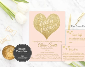 Pink and Gold Baby Shower Invitation Printable, Girl Baby Shower Invitation Template, Instant Download, Gold Glitter, Baby Shower Invite DIY