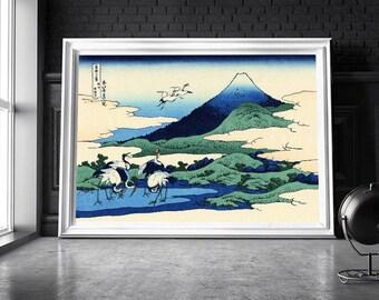 Japanese painting / Asian art print / Asian art poster / Asian painting / Crane painting / Crane print / Crane poster / Wall art /