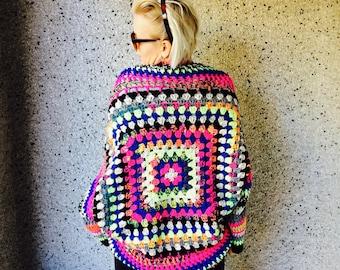 Neon Crochet Shrug / Granny Square Cardigan / Cocoon Cardigan