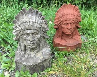 Cast Stone Native American Statues/Bookends