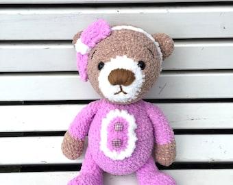 Crochet teddy bear in purple pajamas Crochet toys Amigurumi toys Baby gift Gift for her Big teddy bear Handmade teddy bear