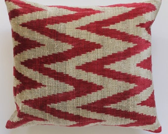 Chevron pattern Silk Velvet Ikat cushion cover
