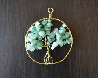 Wire-wrapped Tree of Life pendant or sun catcher with green stone beads on yellow gold wire