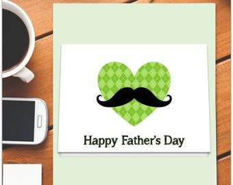 FATHER'S DAY CARD/ Happy father's day card/ Heart and Mustache in red argyle/Instant down/printable