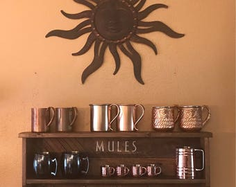 Mule shelf, mule mug display, bar accessory, bar decor, home decor, wall decor, copper mug display,