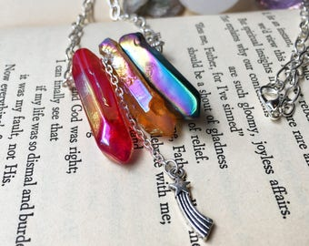 Bright Crystal Necklace, Wire Wrapped Crystal Jewelry, Shooting Star Necklace, Aura Quartz Necklace Handmade, Red and Orange Candy Necklace