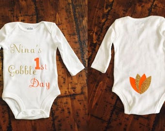 First Thanksgiving Bodysuit, First Gobble Day Bodysuit, Baby's First Thanksgiving Bodysuit, Custom Baby Bodysuit, Long/Short Sleeve Bodysuit