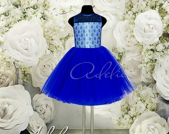 Blue Knee length Tulle Lace Flower Girl Dress Stunning Birthday Wedding Party Holiday Royal Blue Flower Girl Tulle Lace Dress E20-212