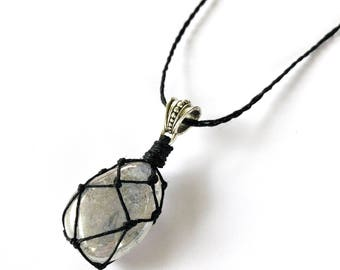 Metallic Clear Quartz Hemp-Wrapped Adjustable Necklace