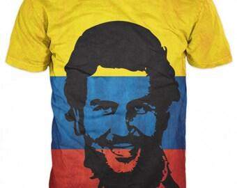 Pablo Escobar El Patron Del Mal Colombia Flag T-shirt