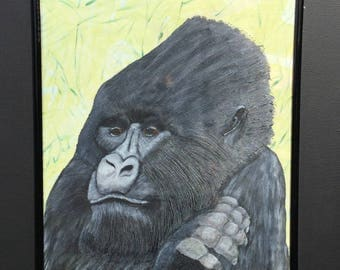 Gorilla hand painted, hand drawn, hand marbling