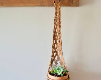 Vintage Hanging Planter || Wicker Plant Holder