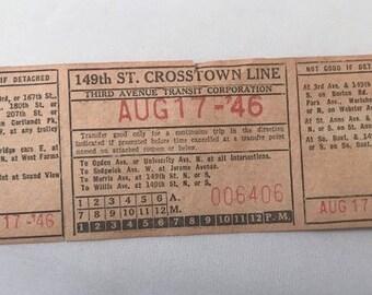 1946 New York Transit Ticket / August 17, 1946 / 149 St. Crosstown Line