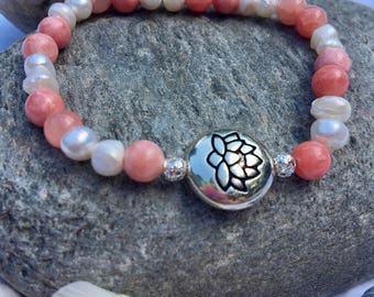 Pink, Pearl, and Silver Lotus Flower Bracelet