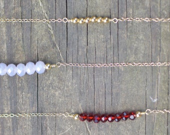 Purple 6 Bead// Simple// Classic// Dainty Necklace// Simple Layering Necklace// Beaded Gemstone Necklace//
