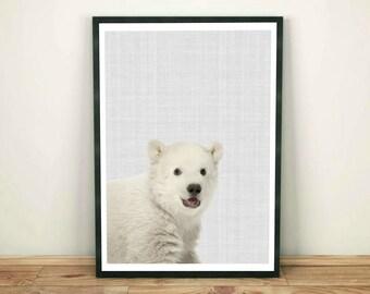 Bear Print, Nursery Wall Art Printable, Bear Wall Art, Baby White Bear, Nursery Decor, Peekaboo Animals, Bear Large Poster, Kids Room Print