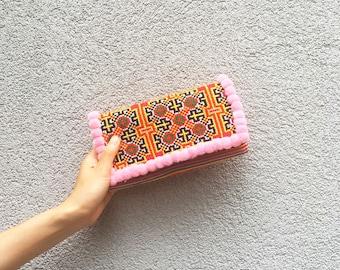 Pom Pom Wallet + Clutch