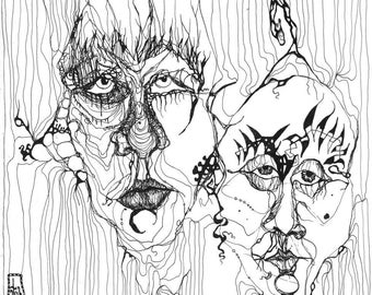 Weird, Abstract Portrait, Abstract Faces, Art Print, Black and White, Contemporary Art