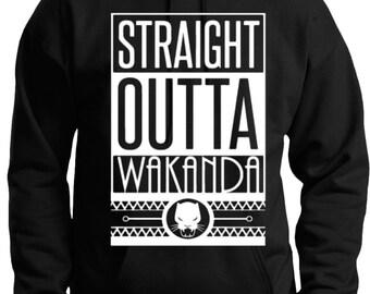 Straight Outta Wakanda Black Hoodie by CCustomsDesign