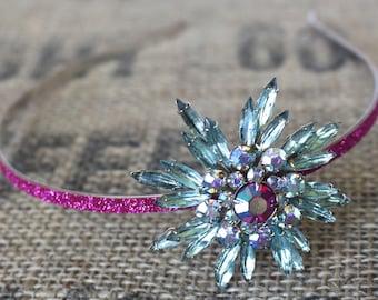Blue & Pink Vintage Starbust Headband