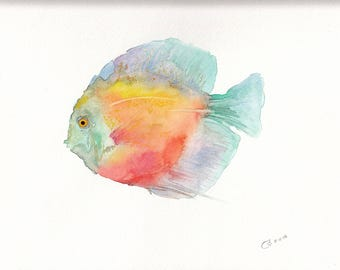 Tropical Fish Original Watercolor Painting Giclée Print (Limited Edition)