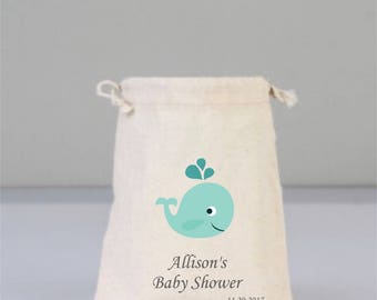Personalized Baby Shower Pouch with Green Whale, Baby Shower Decorations, Baby Shower Party, Boy Girl Party, Cotton Bag Drawstring