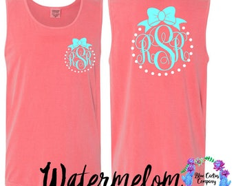 Comfort Color Monogram custom tank with bow - birthday custom gift - monogram gift - college gift - graduation gift - back to school - gift