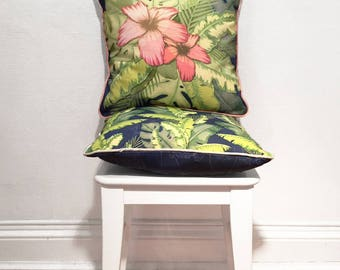 Square Floral Placement Cushion With Envelope Opening, Bespoke Design