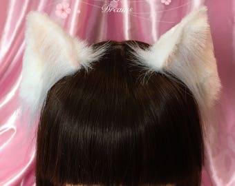 White cat ears headband