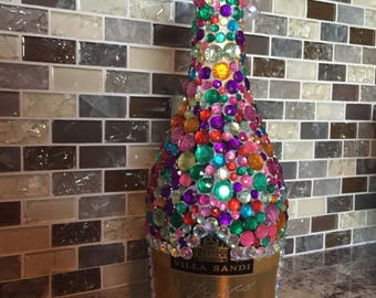 Colorful Bewjewled Sparkley Champagne Bottle