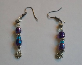 Blue and purple earings